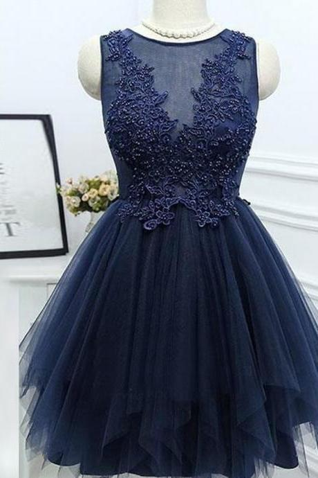 A166 A-Line Jewel Asymmetrical Navy Blue Homecoming Dress with Appliques Beading,Real Photo Dress,Bridesmaid Dress