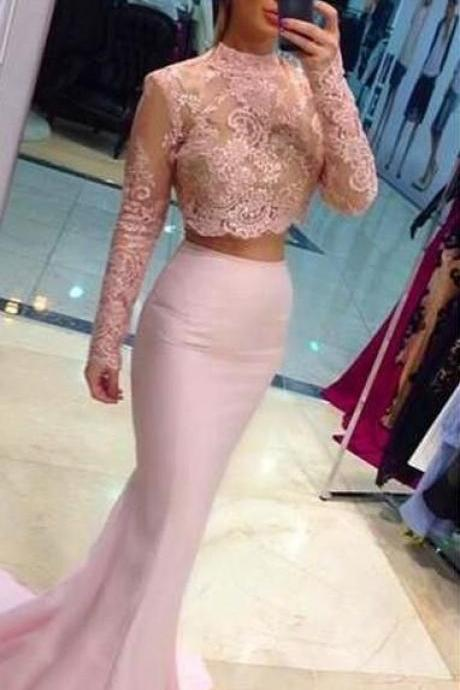 D23 High Quality Prom Dress,High-Neck Prom Dress,Mermaid Prom Dress,2 Pieces Prom Dress,Long-Sleeves Evening Dress,Long Sleeve Dress,Evening Dress,Prom Dress