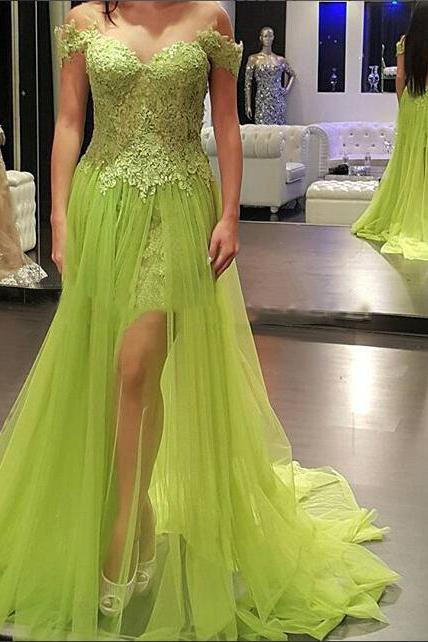 D39 High Quality Prom Dress,Tulle Prom Dress,Appliques Prom Dress,Off the Shoulder Prom Dress, A-Line Prom Dress,Prom Dress,Evening Dress