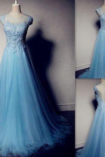 D40 High Quality Prom Dress,Tulle Prom Dress,Beading Prom Dress,O-Neck Prom Dress, Charming Prom Dress,Prom Dress,Evening Dress