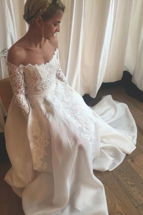 D42 High Quality Wedding Dress,Off the Shoulder Wedding Dress,Long-Sleeves Prom Dress,Appliques Evening Dress,Long Sleeve Dress,Wedding Dress
