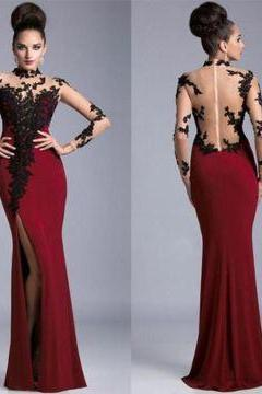 D46 Red Illusion High Neck High-Slit Satin Prom Dresses ,Long Sleeve Dress,Prom Dress,Evening Dress
