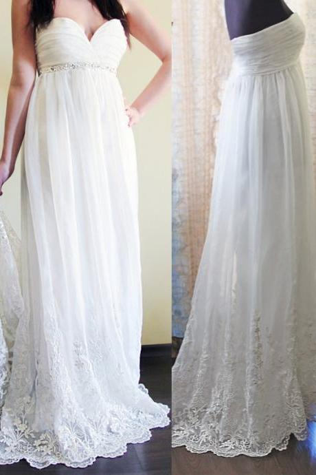 D47 Romantic Wedding Dress,Chiffon Wedding Dress,Lace Wedding Dress,Sweetheart Prom Dress,Prom Dress,Evening Dress
