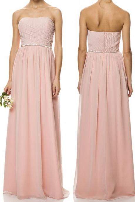 D48 Strapless A-line Floor-length Chiffon Bridesmaid Dress,Prom Dress,Evening Dress,Bridesmaid Dress