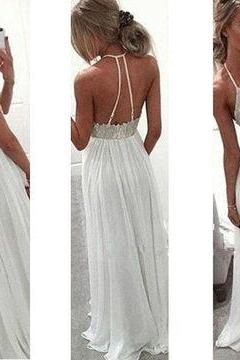 D49 White Appliques Halter A-line Chiffon Prom Dresses ,Prom Dress,Evening Dress