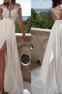 D50 White Appliques High-Slit A-line Chiffon Prom Dresses,Wedding Dress,Simple Wedding Dress,Beach Wedding Dress