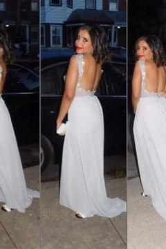 D51 White Bateau Beading Backless Chiffon Prom Dresses,Prom Dress