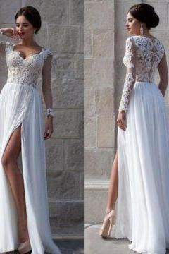 D53 White Lace Sheer Sleeves High-Slit Chiffon Prom Dresses,Wedding Dress,Long Sleeve Dress,Beach Wedding Dress