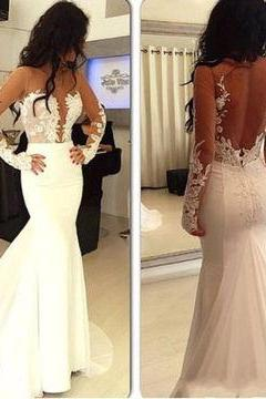 D56 White Trumpet Mermaid Long Sleeves Natural Zipper Appliques Prom Dresses