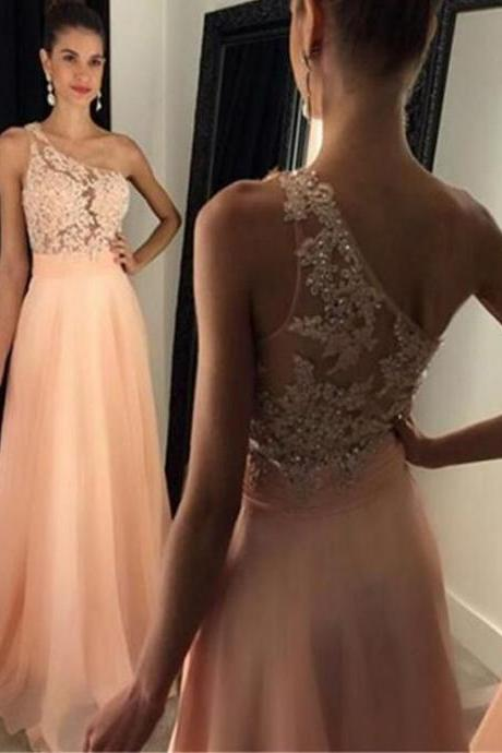 D112 Charming Prom Dress,Chiffon Prom Dress,One-Shoulder Prom Dress,Appliques Evening Dress,Prom Dress,Evening Dress