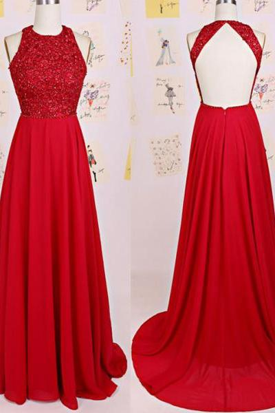 D150 Charming Prom Dress,O-Neck Prom Dress,A-Line Prom Dress,Chiffon Prom Dress,Backless Evening Dress