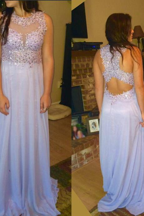 D152 Charming Prom Dress,O-Neck Prom Dress,Appliques Prom Dress,Chiffon Prom Dress,A-Line Evening Dress