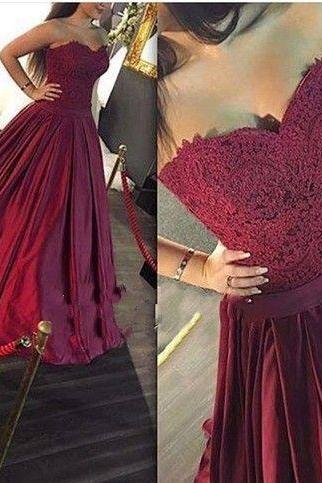 D201 Charming Prom Dress,Sweetheart Prom Dress,Appliques Prom Dress,Satin Evening Dress
