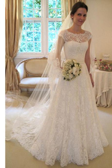A66 Elegant Long Simple Elegant Ivory Lace Wedding Dresses White Cap Sleeve O Neck With Bow Sash A Line Bridal Gown,Wedding Dress