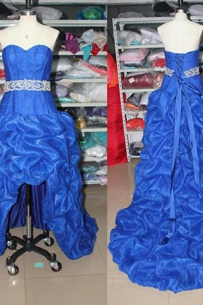 A76 Royal Blue Sweetheart Back Lace-Up Beading Court Train Sashes High-Low Organza Wedding Gowns,Real Photo Dress