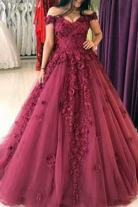 E417 burgundy prom dresses, ball gown prom dresses, tulle prom dresses, lace prom dress, hand made flower prom dress,Wedding Dress