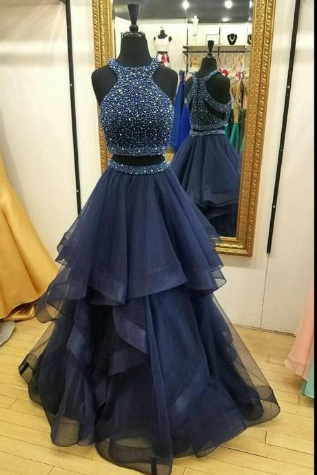 E420 Dark Navy Halter Two Piece Prom Dress,A Line Formal Party Dress,High Neck Navy Blue Tulle Beading Prom Dress,Two Piece Long Beading Prom Dress,Sexy Two Piece Evening Dress