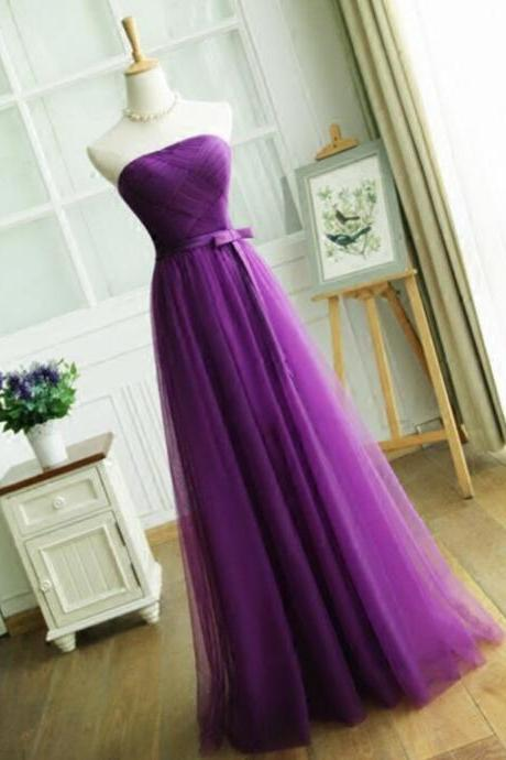 E421 Elegant Purple Long Prom Party Dresses,A Line Strapless Pleat Evening Dress,Women Formal party dress,Wedding Party Guest Dress,Bridesmaid Dress, Gowns with Lace up Back 2018 Cheap