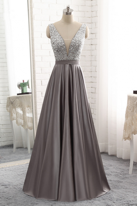 E423 Grey Sleeveless Plunging V Beaded Satin Floor-Length Prom Dress, Evening Dress Featuring V Back