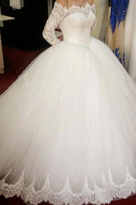 E425 lace long sleeves tulle ball gowns wedding dresses off the shoulder Wedding Bridal Gowns,Ball Gown Prom Dress