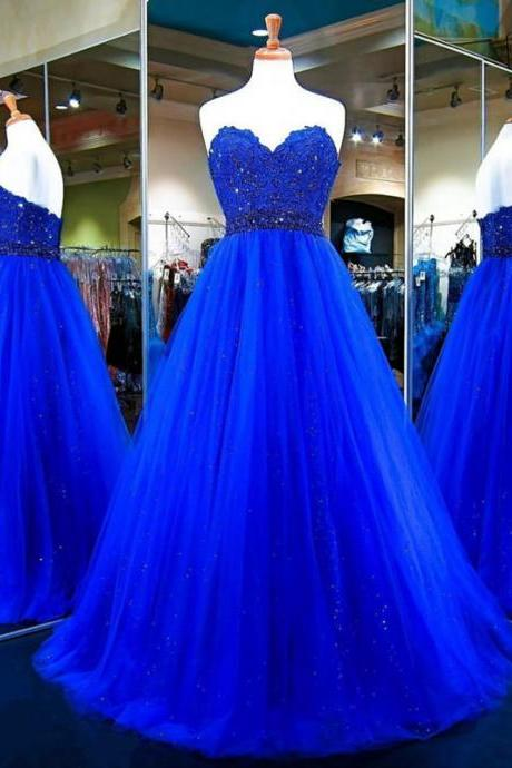E426 Long Prom Dress,Tulle Ball Gowns,Royal Blue Evening Dress,Sweetheart Prom Gowns,Top Lace Royal Blue Long Tulle Prom Dress,A Line Long Tulle Royal Blue Evening Dress