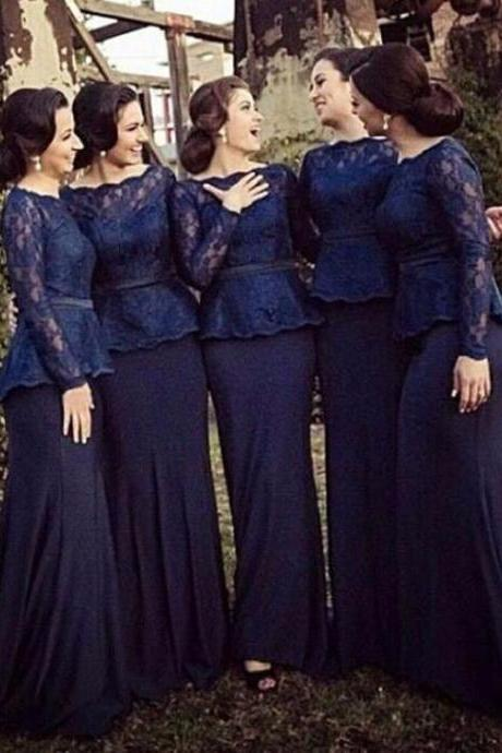 E428 Navy Lace Bridesmaid Dresses Long Sleeves Chiffon For Garden Wedding Spring Cheap Mermaid Adult Brides Maid