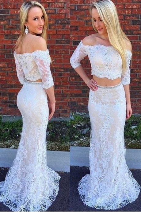 E429 Off the Shoulder Ivory Lace Two Piece Mermaid Prom Dresses with Half Sleeves,Off the Shoulder Two Piece White Lace Sexy Evening Dress,White Lace Sexy Two Piece Half Sleeves Prom Gown