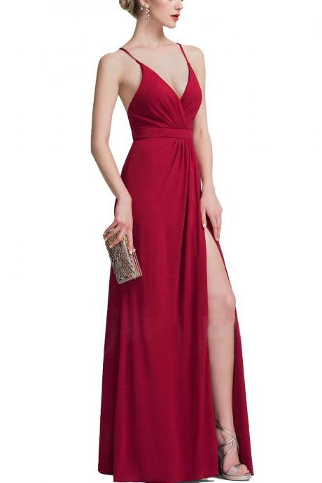 E432 Sheath Column V-neck Floor-Length Jersey Evening Dress With Ruffle,Red Prom Dress with Side Split,Deep V Neck Long Sexy Evening Party Dress,Sexy Red Prom Dress with Side Split
