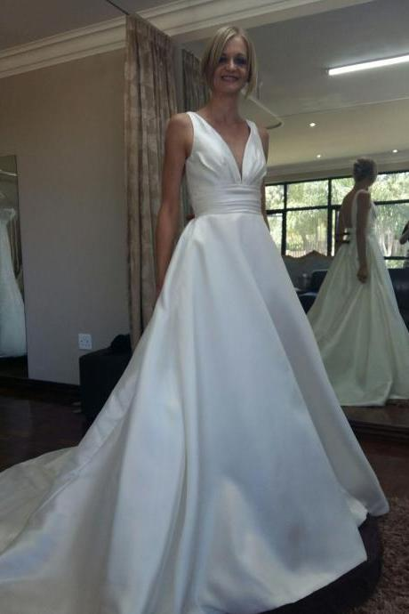 E434V-neckline backless Empire chapel train satin wedding dresses bridal dresses,a line long satin wedding dress,formal elegant satin wedding dress,v neck sexy wedding dress