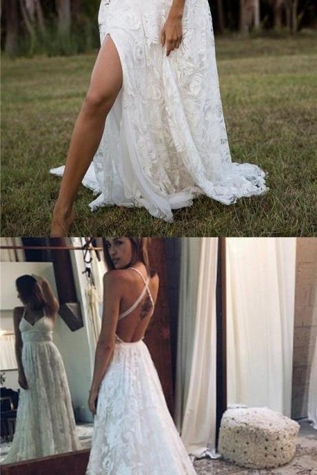 E435 2018 Charming Lace Long A-line Fashion Spaghetti Straps Wedding Dress, New Unique Design Bridals Dresses,Spaghetti Straps Long White Lace Prom Dress,Sexy Full Lace Cheap Evening Dress