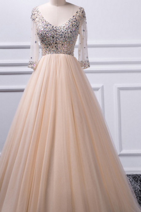 E436 A-line V-neck beaded top Tulle Prom Dress,A Line Long Tulle Champagne Beading Prom Dress with Half Sleeves,V Neck Top Beading Long Sleeve Dress,Real Photo Dress,Prom Dress