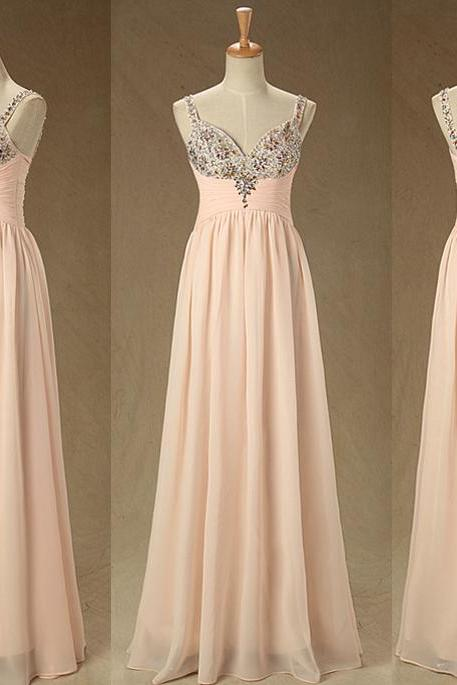 A1 Spaghetti Straps Handmade Beaded A Line Prom Dress,Real Photos Bridesmaid Dress,Pink Evening Gowns