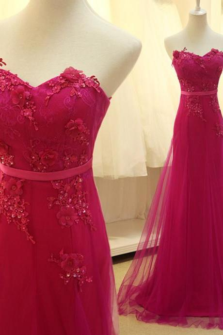 A6 Custom Made Rose Red Tulle Long Prom Dress With Lace Appliques, Delicate Formal Dresses, Evening Gowns