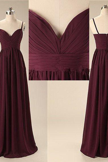 A9 Elegant Handmade Long Spaghetti Straps Simple Prom Dresses, Long Prom Gowns, Bridesmaid Dresses, Wedding Party Dresses