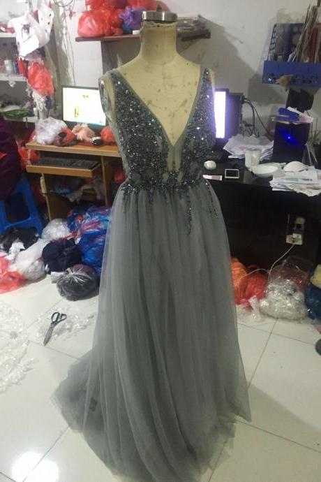 A12 Handmade Beaded Long Grey Tulle Evening Gowns,Charming V Neck Long Prom Dress,Long Sleeve Dress,Real Photo Dress,Prom Dress
