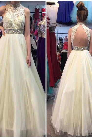 E447 Charming Prom Dress,Tulle Prom Dress, Beading Prom Dress,Appliques Evening Dress,High Neck A Line Long Tulle Yellow Lace Prom Dress