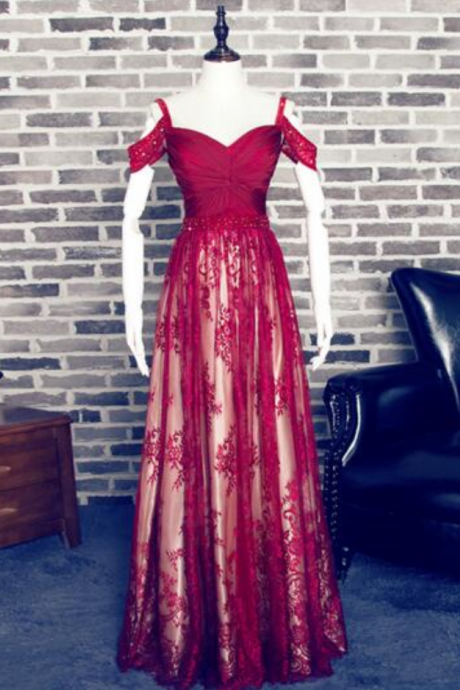 E448 Charming Red A-line Sweetheart Spaghetti Straps Lace Prom Dress,Off the Shoulder A Line Long Lace Burgundy Evening Dress,A Line Long Burgundy Lace Sexy Formal Prom Dress,Prom Dress,Real Photo Dress