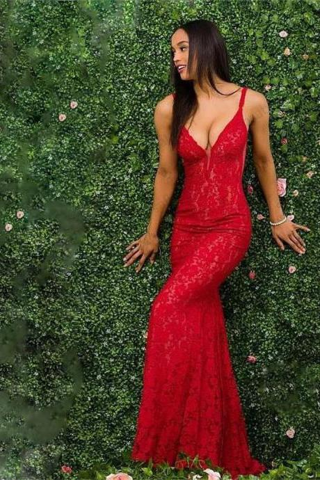 E449 Charming Red Lace Spaghetti Straps Prom Dress, Gorgeous Mermaid Prom Dresses,Spaghetti Straps Sexy Red Lace Mermaid Evening Dress,Deep V Neck Long Sexy Red Mermaid Prom Party Gown