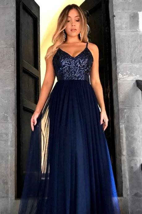 E452 Charming V Neckline Open Back Prom Dress, Sexy Spaghetti Straps Long Prom Dresses, A Line Evening Dress,Spaghetti Straps Top Sequin Navy Blue Long Tulle Simple Elegant Prom Evening Dress