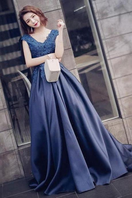 Elegant Dark Navy Applique V-Neck Prom Dress,Long Pageant Dresses,Cap Sleeves A Line Long Satin Navy Blue Lace Evening Dress,Formal Elegant Long Satin Lace Party Dress
