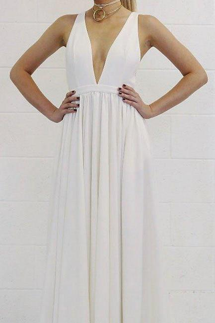 Elegant White V Neck Long Prom Dress,Open Back Evening Dresses,A Line Long Satin Sexy White Evening Dress,Simple Cheap Long Satin White Party Dress