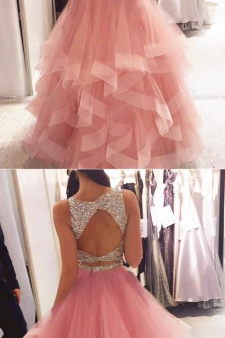 Exquisite Sequin Beaded Organza Ruffles Prom Dresses Two Piece,Two Piece A Line Long Tulle Pink Elegant Evening Dress,Pink Top Beading Elegant Prom Party Dress