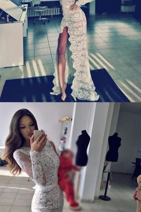 Full Lace Long Sleeves Side Split Mermaid Sexy Prom Dresses, Wedding Dresses,Sexy Sheath White Lace Long Sleeves Evening Dress