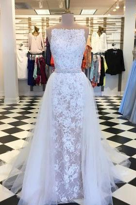 Gorgeous Straps White Lace Long Prom Dress with Train,Sheath Full Lace Simple Elegant White Evening Dress with Detachable Train,