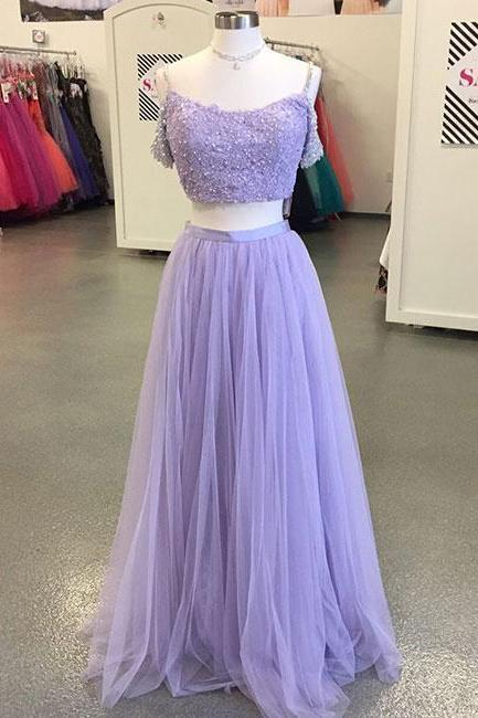 Light Purple Tulle Long Prom Dress,Two-Piece Lace Evening Dress,Off The Shoulder Prom Party Gowns,Off the Shoulder A Line Long Tulle Top Lace Purple Evening Dress