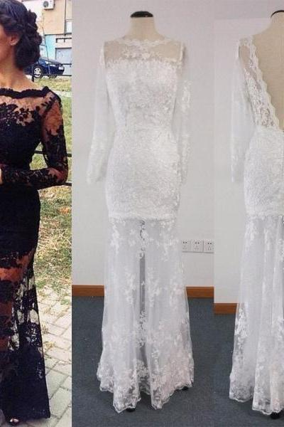 Long Evening Dress,Mermaid Evening Dresses,Black Lace Formal Dress,Full Sleeve Prom Dress,Sheath White Lace Evening Dress with Long Sleeves,Sexy See Through Lace Sheath Black White Maxi Dress,Long Sleeve Dress,Prom Dress