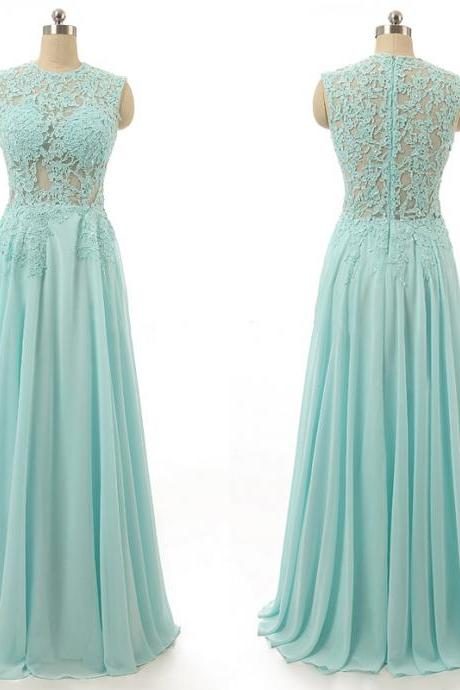 A21 Sleeveless High Neck Prom Dress with Lace Appliques, Floor-length Chiffon Prom Dress, Elegant Sky Blue Prom Dress