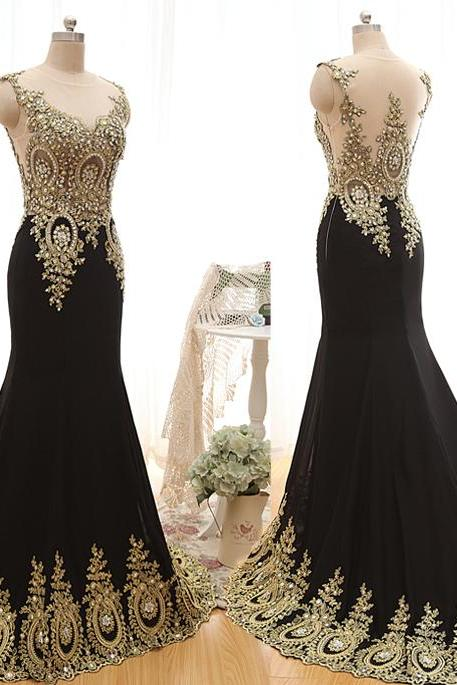 A23 Heavy Handmaded Emboridery Long Mermaid Evening Gowns, Real Photos Prom Dress,Charming Lady Dresses
