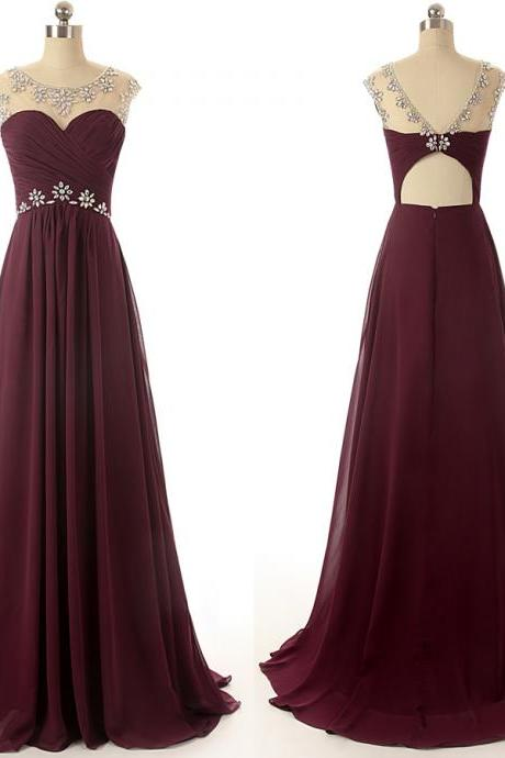 A24 Real Photos Scoop Empire Burgundy Prom Dress,Long Chiffon Bridesmaid Dress,Real Photos Dresses