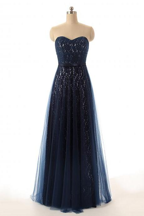 A26 Real Photos Navy Blue Prom Dress,A Line Evening Gowns,Lace Bridesmaid Dress